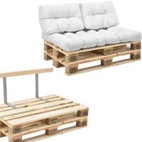 Canapé de palettes - 2-siège avec coussins - (blanc) kit complète incl. Dossier