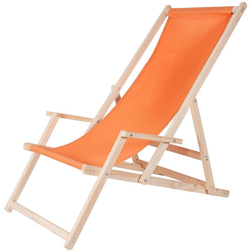 Canapé de plage chaise longue de jardin en bois canapé pliant - orange