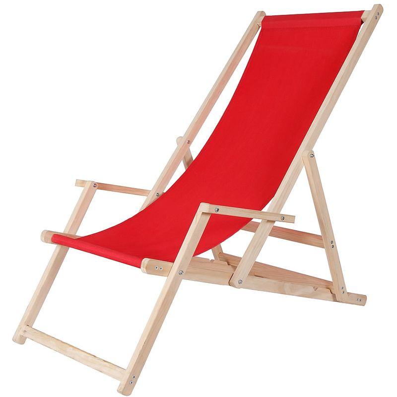 Canapé de plage chaise longue de jardin en bois canapé pliant - rouge