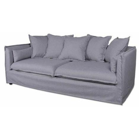 Canapé en lin 3 places coloris gris - Dim : L 210 x H 78/69 x P 104 cm