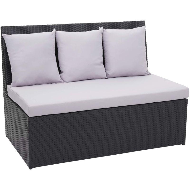 Canapé en polyrotin, 2 places 868, banc, fauteuil, gastronomie, 120 cm ~ noir, coussin gris clair - HHG
