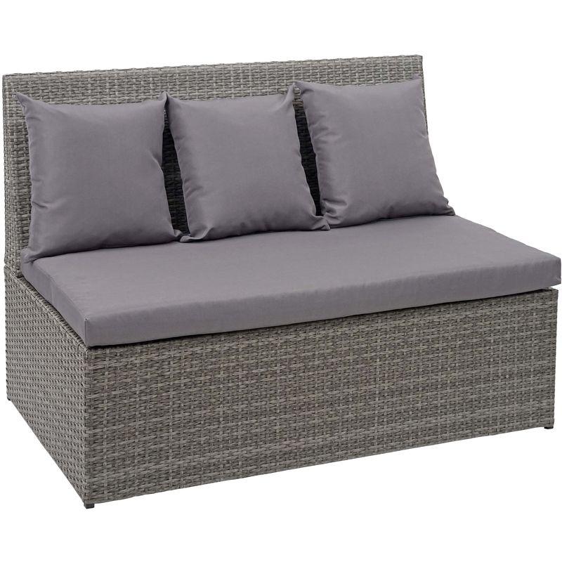 Canapé en polyrotin, 2 places 868, banc, fauteuil, gastronomie, 120 cm ~ gris, coussin gris foncé - HHG