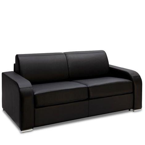 Canapé express 140 cm SOFIA EDITION Cuir et PU Cayenne noir matelas 16 cm - noir