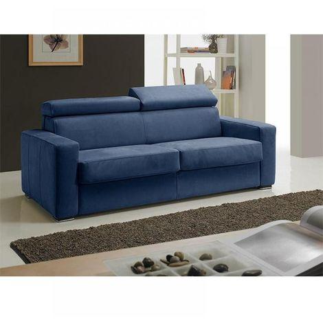 Canapé EXPRESS MELBOURNE couchage 120 cm matelas 18 cm tweed blue - bleu