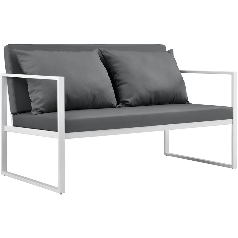 Casa.pro - Canapé Extérieur avec Coussins Armature Métal Polyester Blanc 70 x 114 x 60 cm