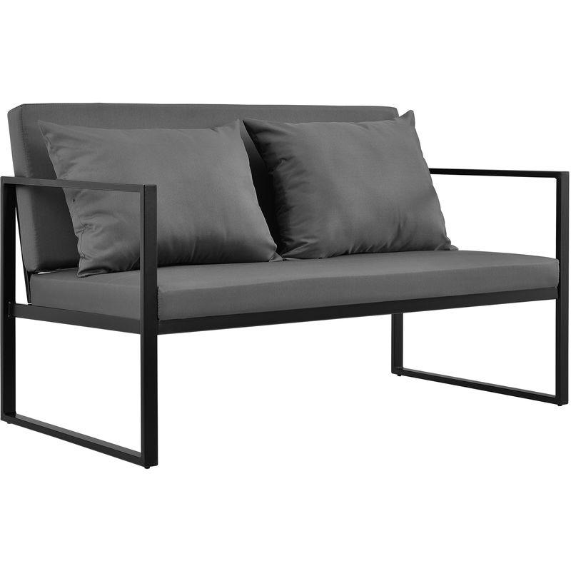 Casa.pro - Canapé Extérieur avec Coussins Armature Métal Polyester Noir 70 x 114 x 60 cm