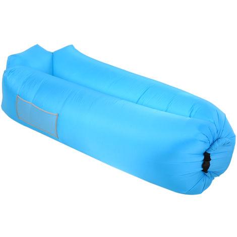 Canape Gonflable, Oreiller Integre, Pour Le Camping, Bleu