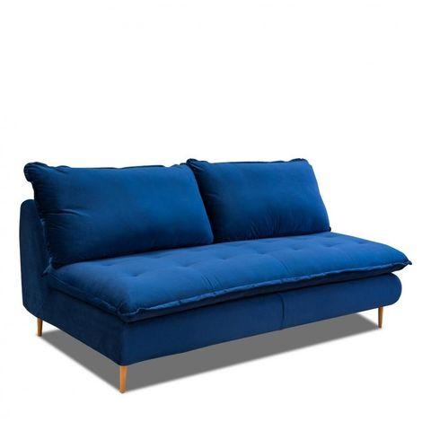 Canapé lit compact 3 places express LISBONNE 140cm sommier à lattes matelas 13cm velours bleu - bleu