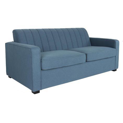 """Canapé lit convertible """"Karla"""" - 185 x 95 x 86 cm - 3 places - Bleu"""