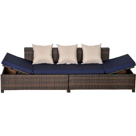 """main image of """"Canapé lit de jardin 3 places inclinable latéralement résine chocolat"""""""