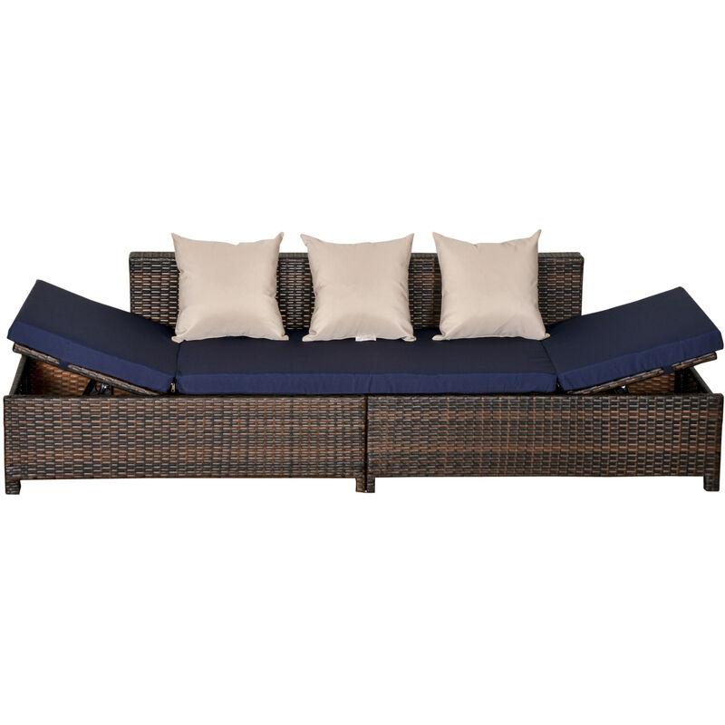 Outsunny - Canapé lit de jardin 3 places inclinable latéralement matelas et coussins inclus résine tressée imitation rotin chocolat