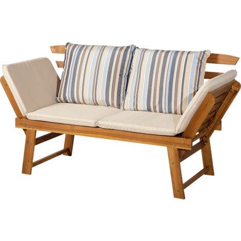 canap lit de jardin extensible 4 places grand confort matelas 2 coussins fournis bois acacia. Black Bedroom Furniture Sets. Home Design Ideas