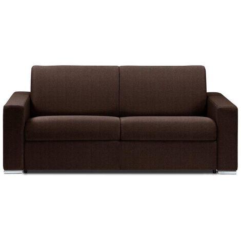 Canapé lit DREAMER EXPRESS sommier lattes 140cm matelas 16cm microfibre marron - marron