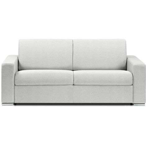 Canapé lit DREAMER EXPRESS sommier lattes 140cm matelas 16cm polyuréthane blanc - blanc
