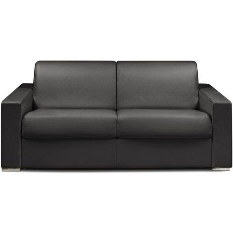 Canapé lit DREAMER EXPRESS sommier lattes 140cm matelas 16cm polyuréthane noir - noir