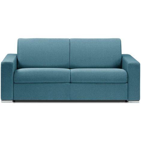 Canapé lit DREAMER EXPRESS sommier lattes 140cm matelas 16cm tweed turquoise - bleu