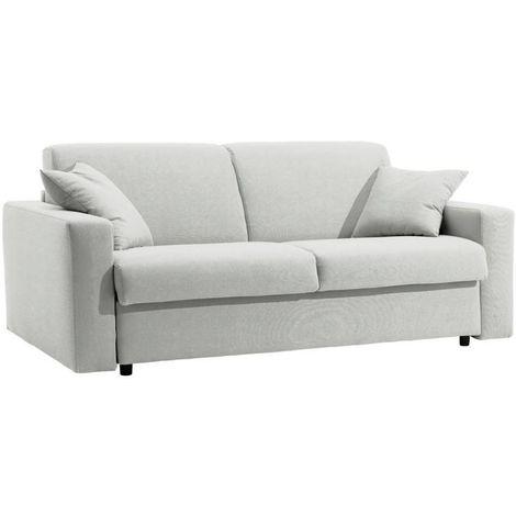 Canapé lit DREAMER EXPRESS sommier lattes 160cm matelas 16cm polyuréthane blanc cassé - blanc