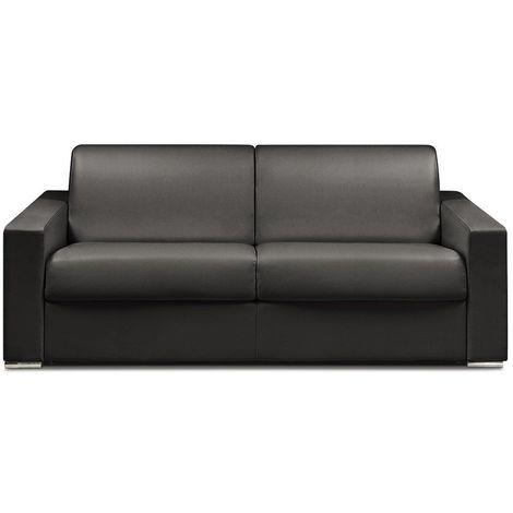 Canapé lit DREAMER EXPRESS sommier lattes 160cm matelas 16cm polyuréthane noir - noir