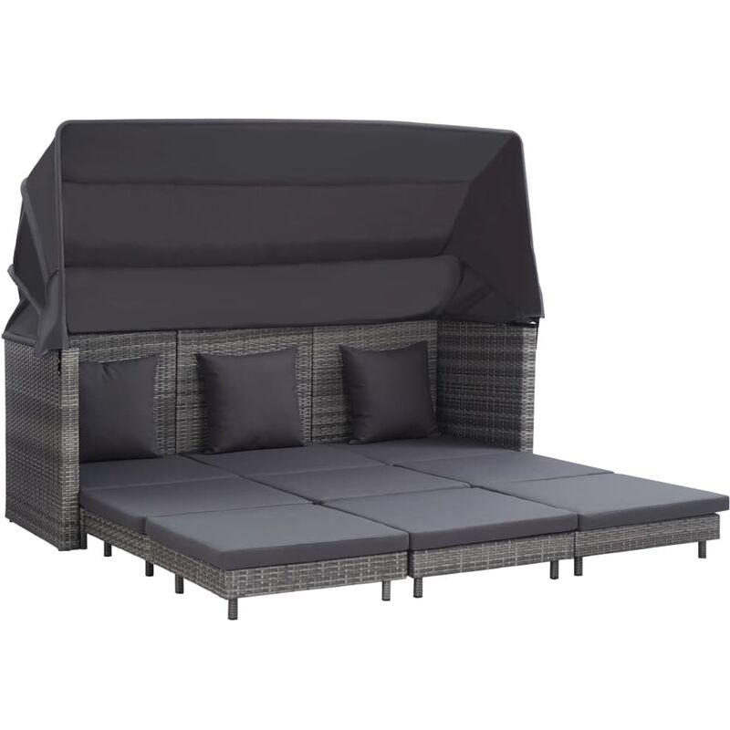 Canapé-lit extensible 3 places avec toit Résine tressée Gris