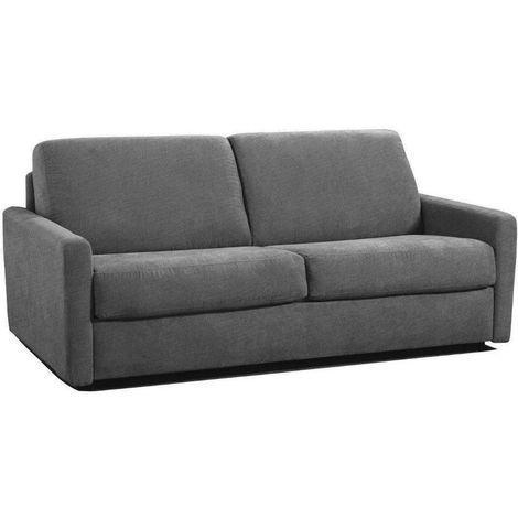 Canapé lit rapido ECLIPSE ELITE tweed gris silex sommier lattes 140cm assises et matelas mémoire de forme
