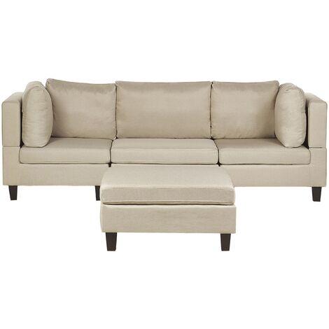 Canapé modulable 3 places en tissu beige avec pouf ottoman FEVIK