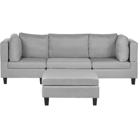 Canapé modulable 3 places en tissu gris clair avec pouf ottoman FEVIK