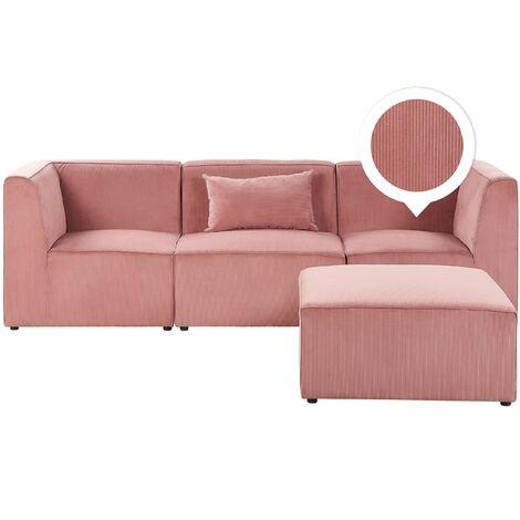 Canapé modulable 3 places en velours côtelé rose avec pouf LEMVIG