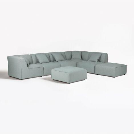 Canapé modulable 5 places & 2 Poufs Aremy SKLUM Polyester - Céladon