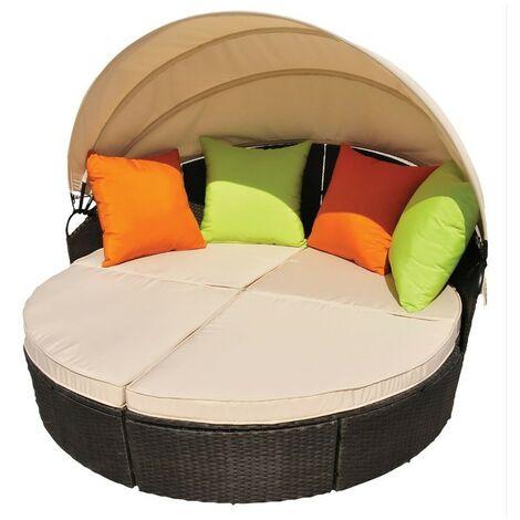 Canapé modulable avec toit pare soleil Coussins Mobilier de jardin ALCOVA