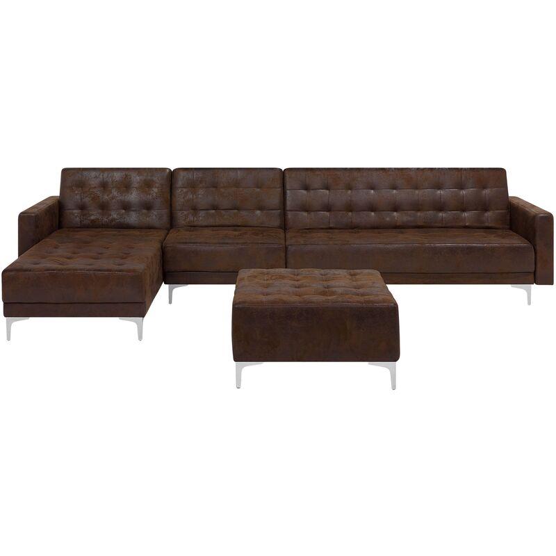 Canapé angle droite convertible simili-cuir marron 5 places avec pouf ABERDEEN