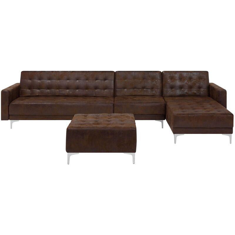 Canapé angle gauche convertible simili-cuir marron 5 places avec pouf ABERDEEN