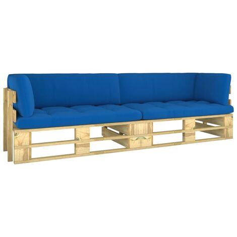 Canapé palette 2 places avec coussins Pin imprégné de vert