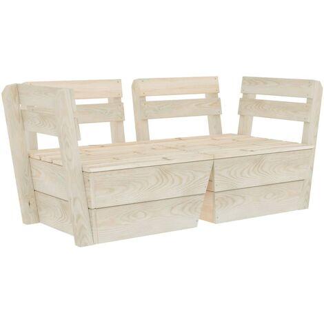 Canapé palette à 2 places de jardin Bois d'épicéa imprégné