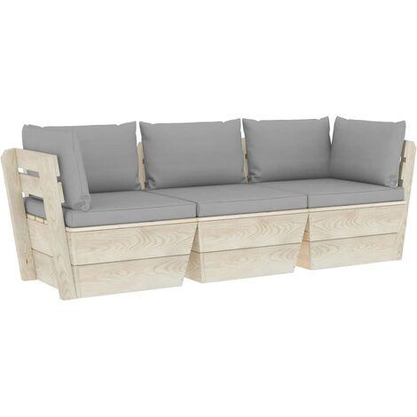 Canapé palette à 3 places de jardin avec coussins Bois d'épicéa