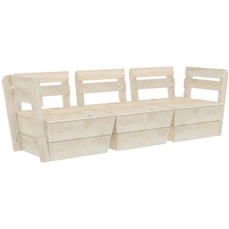 Canapé palette à 3 places de jardin Bois d'épicéa imprégné