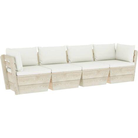 Canapé palette à 4 places de jardin avec coussins Bois d'épicéa