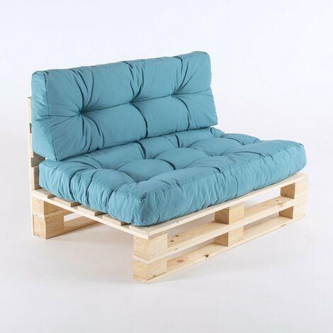 Canapé palette + coussin d'assise 80x120x16 cm + coussin dossier 42x120x16 cm | Couleur gris oléfine | Résistant à l'eau