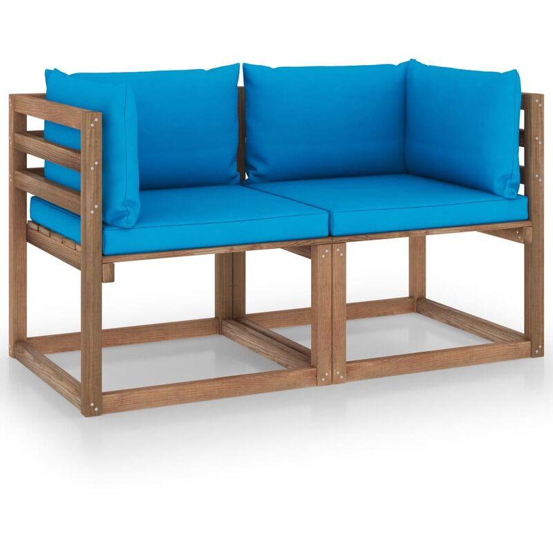 Vidaxl - Canapé palette de jardin 2 places et coussins bleu clair Pinède
