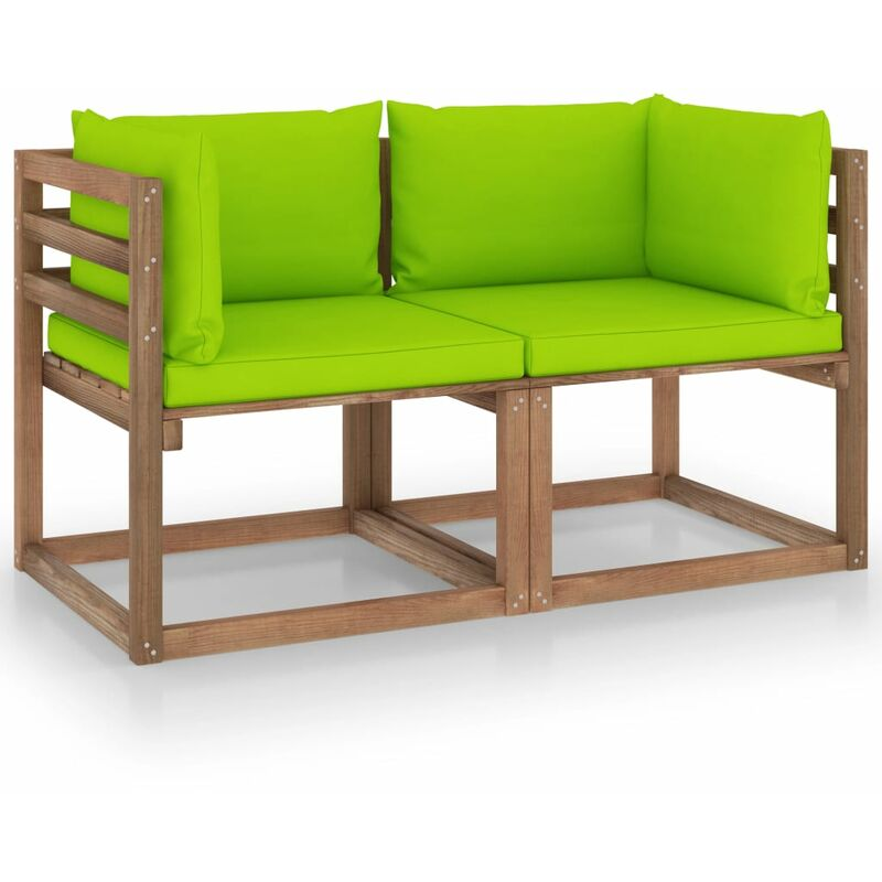 Vidaxl - Canapé palette de jardin 2 places et coussins vert vif Pinède