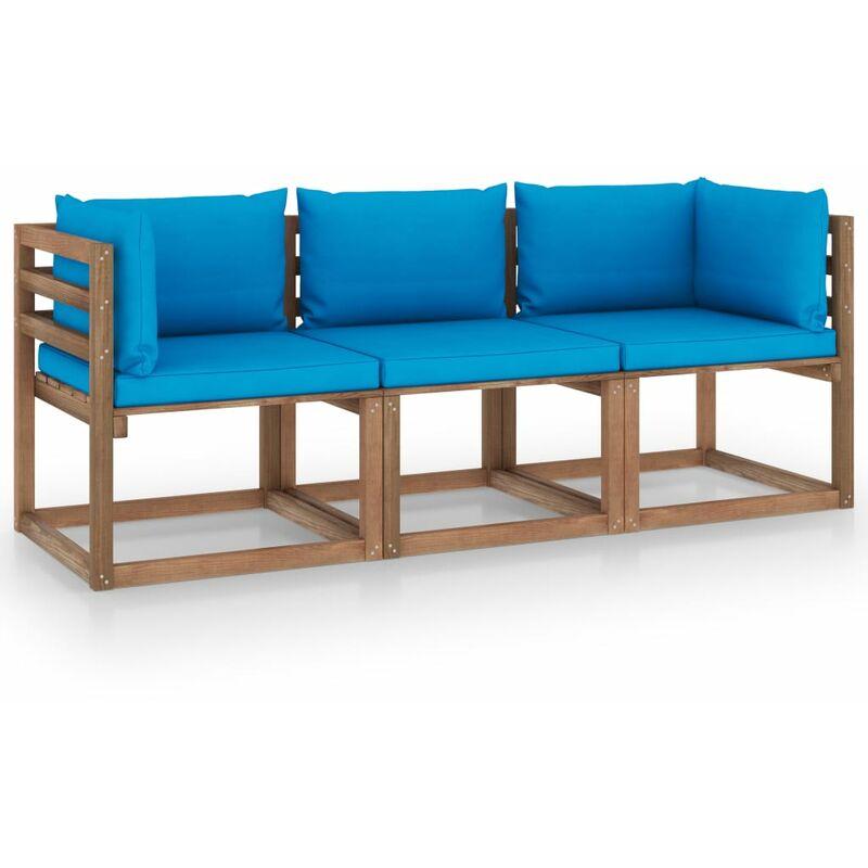 Vidaxl - Canapé palette de jardin 3 places et coussins bleu clair Pinède