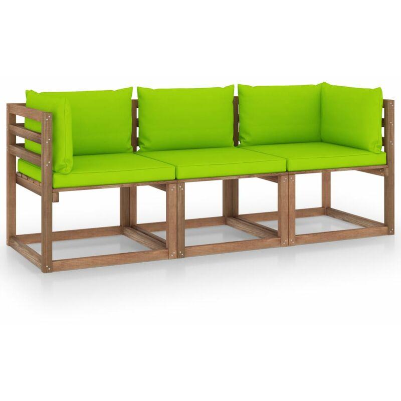 Vidaxl - Canapé palette de jardin 3 places et coussins vert vif Pinède