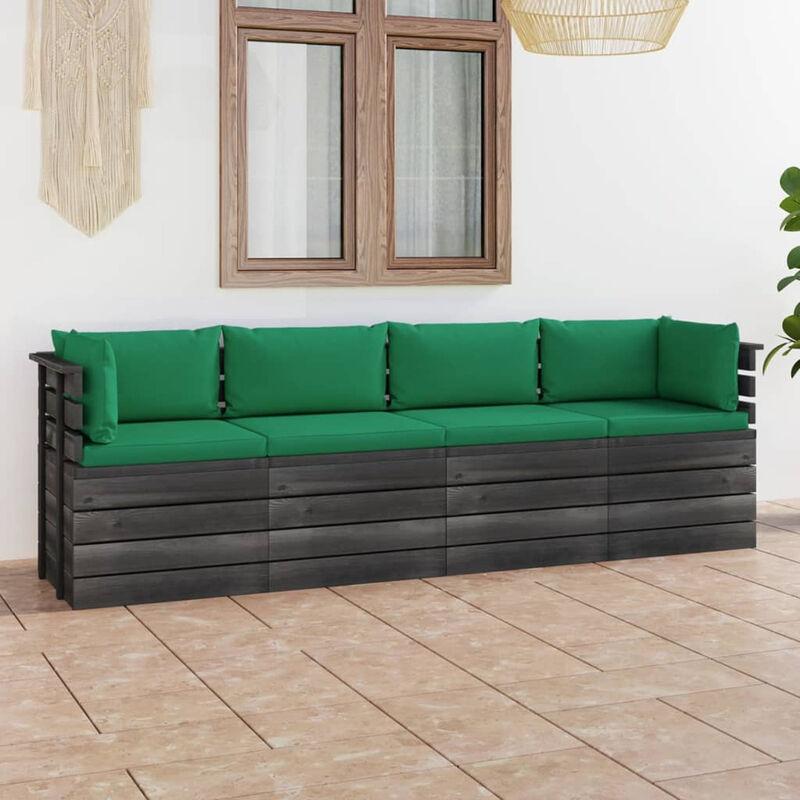 Canape palette de jardin 4 places avec coussins Bois de pin