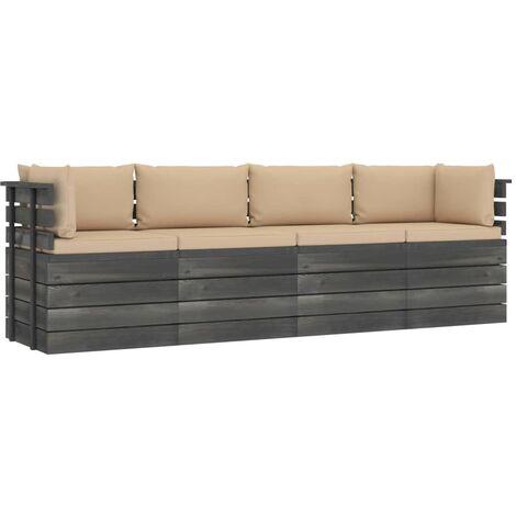 Canapé palette de jardin 4 places avec coussins Bois de pin