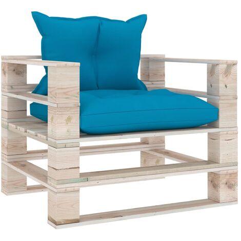 Canapé palette de jardin avec coussins bleu Bois de pin