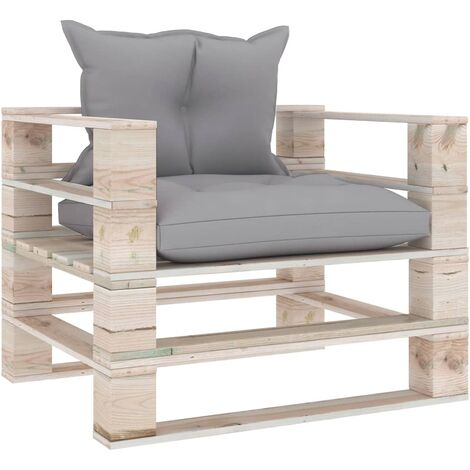 Canapé palette de jardin avec coussins gris Bois de pin