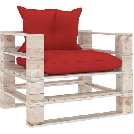 Canapé palette de jardin avec coussins rouge Bois de pin