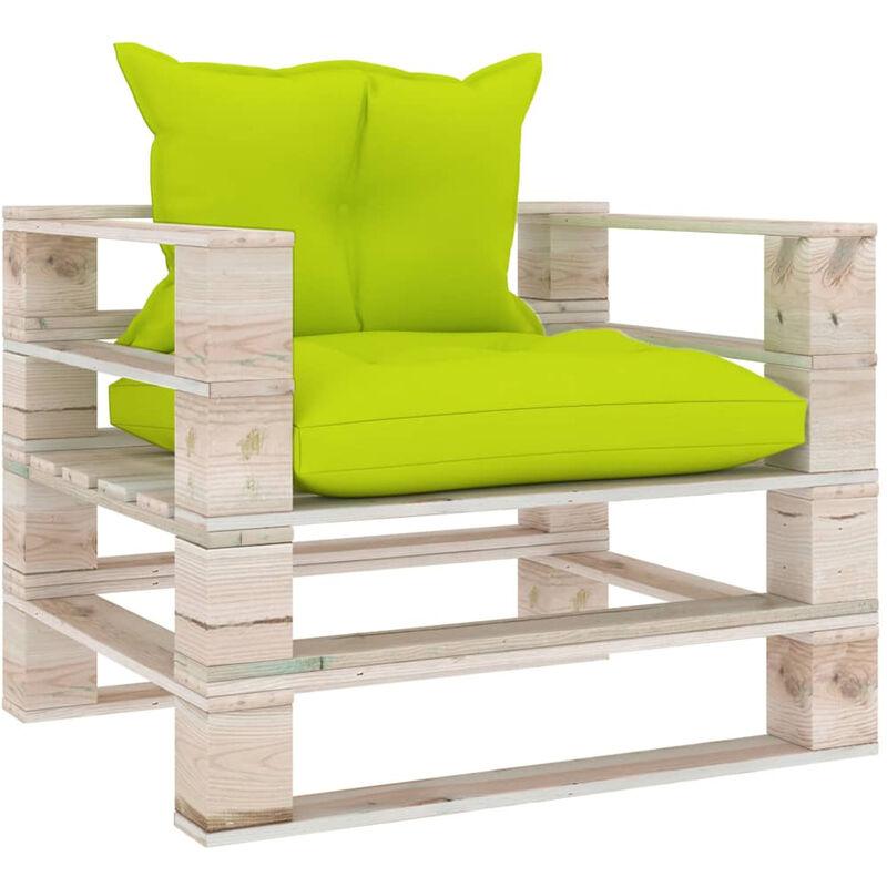 Asupermall - Canape palette de jardin avec coussins vert vif Bois de pin