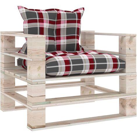 Canapé palette de jardin et coussins Carreaux rouge Bois de pin