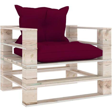 Canapé palette de jardin et coussins rouge bordeaux Bois de pin
