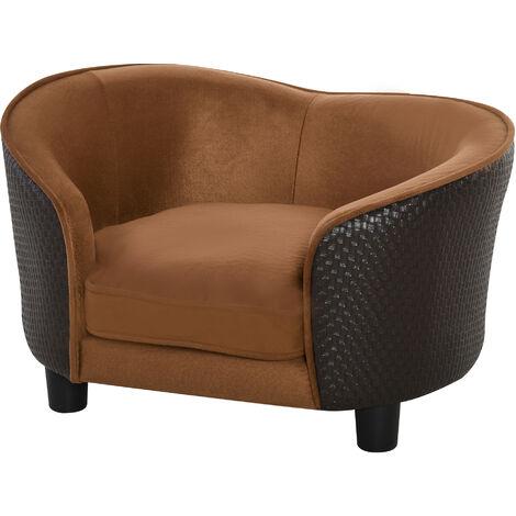 Canapé pour chien chat - lit de chien - panier - accoudoirs, dossier, coussin amovible déhoussable - dim. 70L x 48l x 40H cm - marron